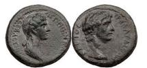 Ancient Coins - CLAUDIUS and AGRIPPINA, Lydia: Thyateira, 50 AD Bronze. Superb! Masterpiece!