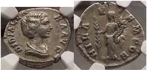 Ancient Coins - DIDIA CLARA, Rome, April-June,193 AD. Silver Denarius, Hilaritas. NGC Certified: XF, 5/5; 4/5. Extremely Rare.