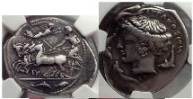 Ancient Coins - Syracuse in Sicily 415 BC Eumenes Signed Silver Tetradrachm  NGC VF