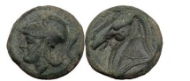 Ancient Coins - Anonymous Half unit, Neapolis, c.276 BC. Head of Minerva. Horse.