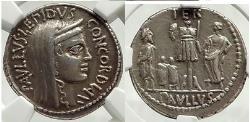 Ancient Coins - L. Aemilius Lepidus Paullus, 62 BC Rome Conquers Perseus MACEDONIA Silver Denarius NGC XF