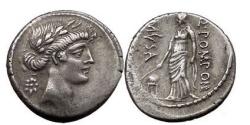 Ancient Coins - Q. POMPONOIUS MUSA, Rome, 66 BC.Silver Denarius. Urania, Muse of Astronomy.