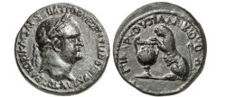 Ancient Coins - VESPASIAN, Bithynia, Nicaea, 76 AD.Bronze.Panther on cantharus.Rare & Beautiful
