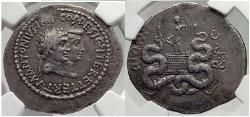 Ancient Coins - MARK ANTONY & OCTAVIA Augustus Sister SILVER Tetradrachm NGC