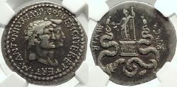 Ancient Coins - MARK ANTONY & OCTAVIA 39 BC Ephesus Silver Cistophoric Tetradrachm, NGC VF*, 5/5; 5/5