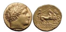 Ancient Coins - PHILIP II, Pella, 336 BC, Gold Stater. Apollo. Charioteer in biga. Superb!