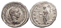 Ancient Coins - SEVERUS ALEXANDER, Silver Denarius, Rome 222 A.D. Emperor/PAX. SUPERB