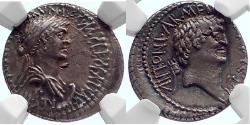 Ancient Coins - CLEOPATRA VII & MARK ANTONY  34BC  NGC Ch XF
