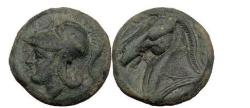 Ancient Coins - Anonymous Half unit, Neapolis, c.276 BC. Head of Minerva. Horse.
