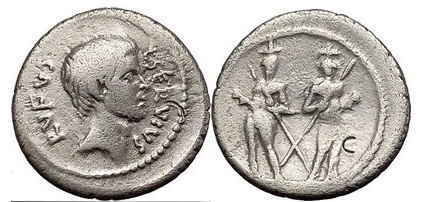 Ancient Coins - L. Servius Rufus, 41 BC. Silver Denarius. M. BRUTUS assassin of Caesar Very Rare. Ch F 4/5. 3/5. Extremely Rare!
