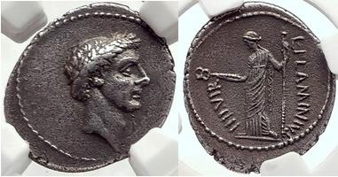 JULIUS CAESAR Portrait 43 BC Authentic Ancient Silver Roman Coin - 1907  PEDIGREE NGC Ch XF 5/5