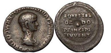 Ancient Coins - NERO, as Caesar. Rome, 51 A.D., Silver Denarius.Young Nero/Shield and Spear. RARE.