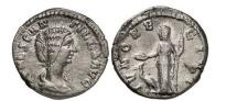 Ancient Coins - MANLIA SCANTILLA, Rome, 193 AD. Silver Denarius. JUNO, peacock. Extremely Rare.