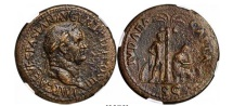 Ancient Coins - VESPASIAN 71AD Jewish War Victory JUDAEA CAPTA Sestertius NGC Certified:EF. 5/5; 3/5.