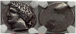Ancient Coins - ETRURIA: Populonia, 300 B.C.   Etruscan Silver Greek Rare Superb NGC Ch XF*