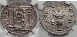 Ancient Coins - JEWISH BAR KOCHBA Kokhba REVOLT Silver SELA Shekel of Jerusalem NGC MS