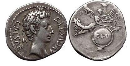 Ancient Coins - OCTAVIAN as Augustus, Caesaraugusta, 19 B.C. Silver Denarius  NGC Ch VF