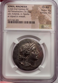 Ancient Coins - IONIA:MAGNESIA AD MAEANDRUM, 155 BC. AR Tetradrachm. Artemis. Apollo. NGC. Ch AU. 4/5. 4/5.