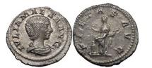 Ancient Coins - JULIA MAESA, Rome, 220 AD.Struck under Elagabalus. Silver Denarius. Pietas. Superb artistic portrait!