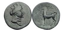 Ancient Coins - Cilicia: Adana. 164 B.C.  Bronze.  Head of Tyche.  Horse.
