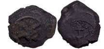 Ancient Coins - Alexander Jannaeus: Jerusalem. King of Israel, Bronze Prutah 97 B.C. Anchor.
