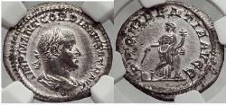 Ancient Coins - GORDIAN II AFRICANUS 238 AD Silver Denarius VERY RARE NGC AU