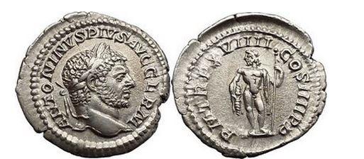 Ancient Coins - CARACALLA, Rome, 217 AD. Silver Denarius. Jupiter, thunderbolt, scepter.