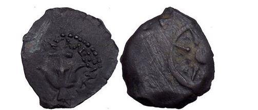 Ancient Coins - Alexander Jannaeus: Hosmonean King of Israel, Bronze Prutah 99 B.C. Anchor.