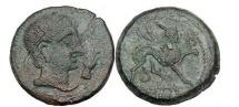 Ancient Coins - CASTULO, 50 BC. Bronze. Celtiberian male. Winged Sphinx. Superb.