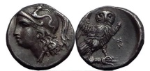Ancient Coins - TARENTUM in CALABRIA 280 BC Athena Owl  Silver  Drachm