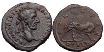 Ancient Coins - MACRINUS, 217 A.D., Thrace. Deultum.Bronze:She-wolf suckling Romulus and Remus.Rare.