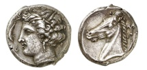 SICULO-PUNIC,Carthage, 310 B.C. Tetradrachm: Arethusa NGC Ch XF   Jenkins plate coin