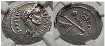 Ancient Coins - JULIUS CAESAR 44 BC Rome Denarius Authentic Ancient Silver Roman Coin NGC Ch XF