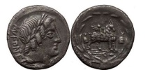 Ancient Coins - Mn. FONTEIUS, Rome, 85 BC. Silver Denarius. Infant winged Cupid on goat.