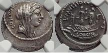 Ancient Coins - Roman Republic 42 BC Rome Silver Coin VENUS CLOACINA Shrine NGC
