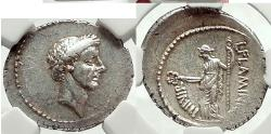 Ancient Coins - JULIUS CAESAR d.44 BC Great Portrait. Struck: 43 BC., Rome  Silver Denarius NGC Choice AU, 4/5; 5/5 .