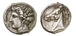 Ancient Coins - SICULO-PUNIC,Carthage, 310 B.C. Tetradrachm: Arethusa NGC Ch XF   Jenkins plate coin