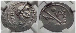Ancient Coins - JULIUS CAESAR 44 BC Rome Denarius Authentic Ancient Silver Roman Coin NGC Ch XF