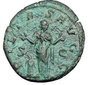 Ancient Coins - TREBONIANUS GALLUS, Rome, 252 A.D. Bronze As. Pietas raising both hands.