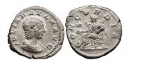 Ancient Coins - JULIA PAULA, Rome, 219 AD. Silver Denarius. Concordia, star.
