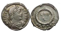 Ancient Coins - VALENS, Constantinopolis, 364 AD. Siliqua. VOT V in wreath, CP dot [Δ] in ex.