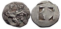 Ancient Coins - TH ASOS Greek Island Off Thrace Ancient Silver 500 BC Greek Stater Coin w SATYR