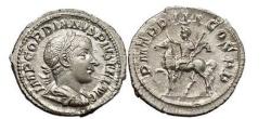 Ancient Coins - GORDIAN III, Rome, 239 AD. Silver Denarius. Emperor on horseback.
