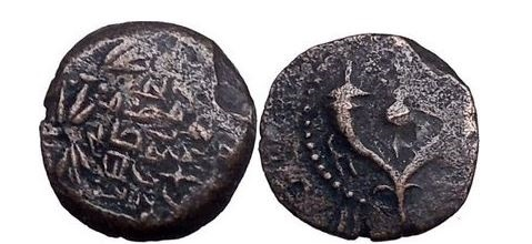 Ancient Coins - Alexander Jannaeus, 80 BC, Lepton: Cornucopiae, Pomegranate.