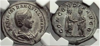 Ancient Coins - TRANQUILLINA, 241AD Authentic Ancient Roman Coin NGC AU, 5/5, 4/5 Extremely Rare
