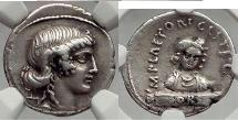 Ancient Coins - Roman Republic 69 BC Rome Fortuna & Sors  Silver Coin - NGC XF