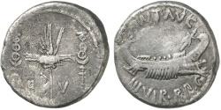 Ancient Coins - MARK Antony, Patrae (?), 31/2 BC. Silver Denarius. LEGION V. Rare.