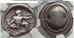 Ancient Coins - THEBES in BOEOTIA Silver Stater INFANT Hercules with SERPENTS  NGC
