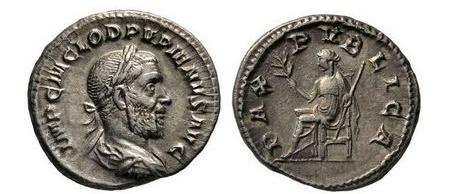 Ancient Coins - PUPIENUS, Rome, 238 AD. Silver Denarius. Pax seated.