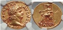 NERO 67 AD Rome 1910 Pedigree Authentic Ancient Roman GOLD Aureus Coin NGC AU